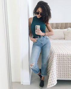 Rayza Nicacio , estilo , cachos , curly , jeans boyfriend , crooped
