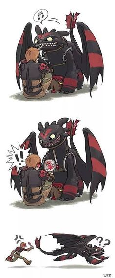 Toothless panting Hiccup's face