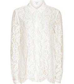 Yasmina Off White Lace Blouse - REISS