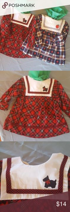 NWOT Mayfair dresses apples and scottie dogs Little dresses with apples and scottie dogs 100%cotton /ALGODON lightly elastic around the arms   both have cute collars Mayfair kid's Dresses Casual