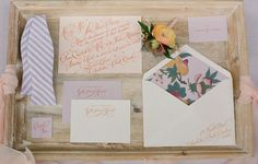 Unique twist on traditional formal invitation...like slanted placement and use of color for type (source: Easton Events)