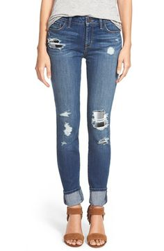 Free shipping and returns on Treasure&Bond Plaid Patch Destroyed Skinny Jeans (Rancher Rain Dusk Rip N Repair) at Nordstrom.com. Black-and-white plaid patches peek through the distressed holes of medium-wash skinny jeans for a rustic, home-sewn effect. Golden contrast stitching and subtle distressing on the back pockets finish the look. <br><br>When you buy Treasure&Bond, Nordstrom will donate 2.5% of net sales (that's 5% of net profits) to organizations that work to empower youth.
