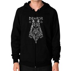 Viking Berserker Zip Hoodie (on man)