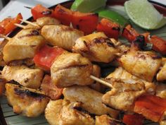 """FODMAP free chicken kabobs / """"The chick broth must be homemade because """"store bought"""" broth, even organic, will contain onion and/or garlic. There's a chicken broth recipe in the Soups & Sauces section.  If using wooden skewers, soak the skewers in water for at least 30 minutes to prevent the wood from catching fire in the oven.  For variety you can add or substitute yellow squash or zucchini."""""""