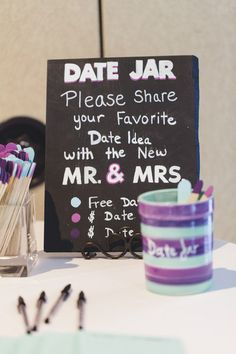 We are seeing this idea at more and more weddings - very cute! #datejar {Dan & Erin PhotoCinema}
