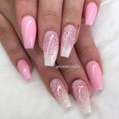 Nails, Pink, Glitter, so pretty!!