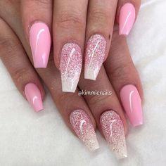 Nails, Pink, Glitter, so pretty!!