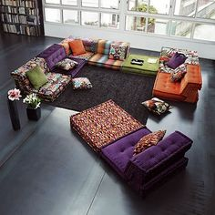 Get floor cushions ideas and inspiration for your home at different places. Gallery of Floor cushions, floor cushion seating, floor seating ideas living room and floor seating cushions ikea. Interior Design Living Room, Home, Colorful Furniture, House Design, Furniture, Floor Seating, Colorful Interiors, Living Room Furniture, Room Design