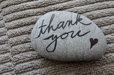 """Thank you"" ~ pebbles from Portugal, hand painted by Sabine Ostermann"