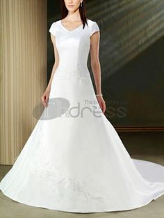 Cheap White V-neck Short Sleeves Beading simple wedding dresses - Wedding Dresses For Women Cheap Wedding Dress, Wedding Dresses, White V Necks, Simple Weddings, Cheap Dresses, Dream Wedding, Wedding White, One Shoulder Wedding Dress, Marie