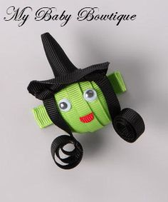 Girls Halloween / Fall Hair Bow Clippy - Happy Witch Clip. $4.00, via Etsy.