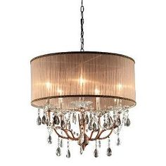 Place this elegant ceiling lamp anywhere in the living room to give the interior a luxurious style and feel<br>This lamp features a gray with hints of light pink-colored shade<br>The shade contains a lining of a simply creative design<br>The 100% imported crystals of this lamp creates a sophisticated sensation<br>Uses five 40 watt candelabra bulbs
