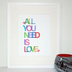 All You Need is Love Beatles inspired 11x14 by SayItAgainDesign, $18.00