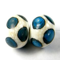 Lampwork Beads Handmade Ivory Glass With Turquoise Dots | Covergirlbeads - Jewelry on ArtFire#BME Countdown