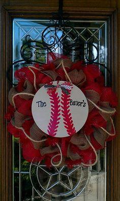 Personalized Baseball Mesh Wreath by lesleepesak on Etsy, $67.00