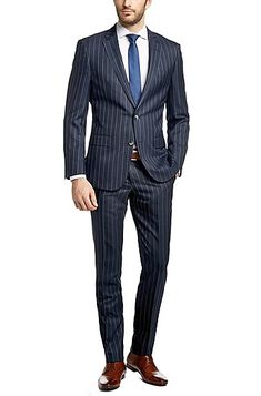 HUGO BOSS - Slim-fit suit 'T-Harvers/Glover' in a new-wool blend with silk, Dark Blue