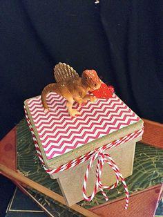 Dinosaur Valentines Box, Tan Dinosaur with Red Heart, Valentines Gift Box, Valentines for Guys, Jewelry Box, Candy Box by BelleRowan on Etsy
