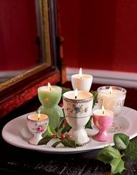 Easter time wedding -Tea lights in vintage egg cups - Great for wedding favours too!
