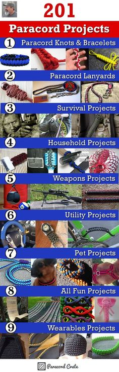 Over 200 paracord projects. Projects are listed by category, difficulty, and time. Perfect guide to keep track of new paracord project ideas. Survival Project, Survival Tips, Survival Skills, Survival Stuff, Paracord Tutorial, Paracord Ideas, Bracelet Tutorial, Paracord Bracelets, Survival Bracelets