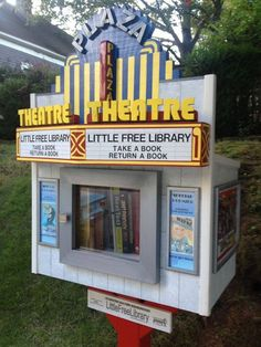 This Little Free Library is a tribute to the Plaza Theatre in Atlanta. It opened in 1939 and has been a favorite of moviegoers for decades. Little Free Library Plans, Little Free Libraries, Little Library, Library Inspiration, Library Ideas, Mini Library, Lending Library, Library Design, Library Displays