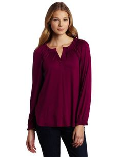 Ella moss Women`s Long Sleeve Split Neck Top