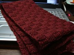 Easy basketweave knitted scarf