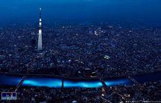 100,000 LED lights in a river in Tokyo