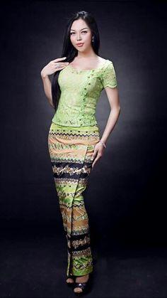 Myanmar Traditional Dress, Traditional Dresses, Thai Fashion, Womens Fashion, Vietnam Costume, Modern Kebaya, Myanmar Dress Design, Gold Sequin Dress, Corset Pattern