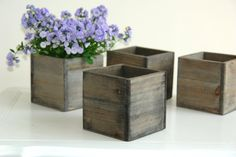 small wood box woodland planter flower box rustic pot square vases for wedding wooden boxes rustic chic wedding via Etsy