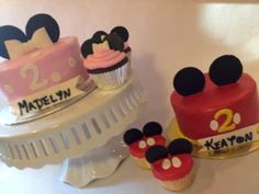 Mickey and Minnie Birthday Cake  For Emilee and Peyton