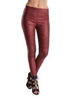 Cheers to Merlot Leather Look Leggings - Wine