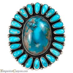 Navajo Native American Blue Moon Turquoise Cluster Ring Size 9 1/2 SKU#229104