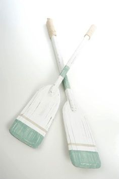 Love the seafoam and white oar for a cottage room More