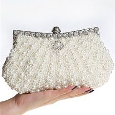 Two Sided Beaded NEW Fashion Exquisite Beaded Evening Bag,Noble Elegant Pearl Clutch Bags, Shoulder Bags, Party Bag White Pearl
