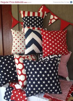 ON SALE Patriotic pillow covers pick two by WhimsicalDesignsbyMe, $31.50