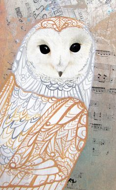 Barn Owl Zentangle Art Greeting Card - Notecard - Valentines - Blank - Birthday. $4.00, via Etsy.