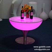 It's really nice looking of LED table with top glass on it.