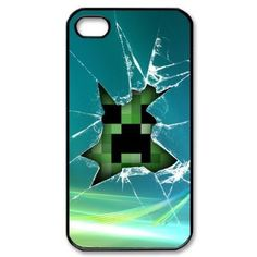 Minecraft Creeper Broken Glass Personalized Cover for Iphone 4/4s U46083