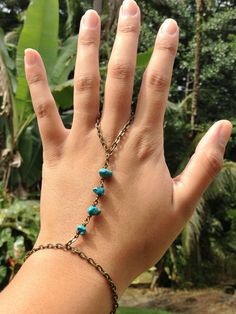 Turquoise Slave Bracelet, Real Turquoise, Adjustable Bronze Slave Bracelet, Gypsy Body Jewelry