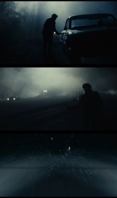 amazing cinematography: Inside Llewyn Davis (2013) Everything about these images helps the narrative. The fog gives it that dangerous, mysterious feel as well as the silhouetted car and person.