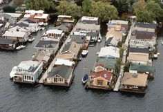 Floating Homes in Lake Union, Seattle from the air.