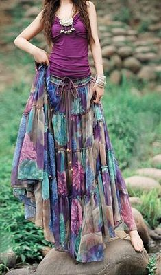 Picture yourself wearing this beautiful bohemian style purple floral maxi skirt. Flowing effortlessly as you walk. This comfortable versatile double … Hippie Skirts, Bohemian Skirt, Boho Skirts, Boho Dress, Gypsy Skirt, Hipster Outfits, Boho Outfits, Skirt Outfits, Fashion Outfits