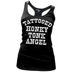 Women's Tattooed Honky Tonk Angel Racerback Tank Top - Black