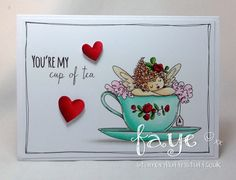 Stamping Bella JANUARY 2017 rubber stamp release-Edna's CUP OF TEA card by Faye Wynn Jones