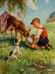 Mainstream Illustration, HY (HENRY) HINTERMEISTER (American, 1897-1972). Boy with Calfand Dog. Oil on canvas. 28 x 21 in.. Signed lower right. ...