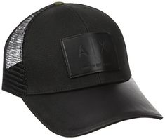 b2ce38c362c89c Armani Exchange Men's Logo Patch Mesh Hat, Black, One Size
