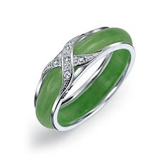 Bling Jewelry 925 Sterling Silver Dyed Jade Cubic Zirconia Crossover Motif Band