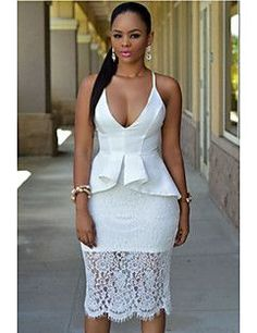 2017 Fashion Summer Hammock V-Neck Crossover Straps Floral Lace Peplum Dress African Attire, African Wear, African Fashion Dresses, African Dress, Lace Peplum Dress, Dress Up, Bodycon Dress, White Peplum, White Lace