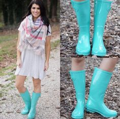 A comfy tee dress and fun mint rain boots  Shop them both in stores and online today! #shopPD