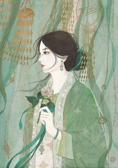 Chinese Style, Chinese Art, China Girl, Green Art, Art Girl, Character Art, Animation, Wallpaper, Drawings